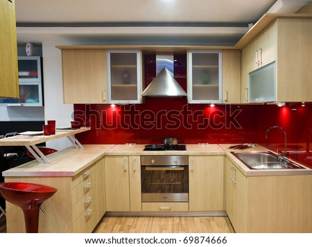 beautiful and modern kitchen in a showroom - stock photo