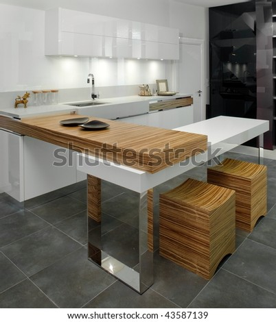 Beautiful and modern kitchen interior design. - stock photo