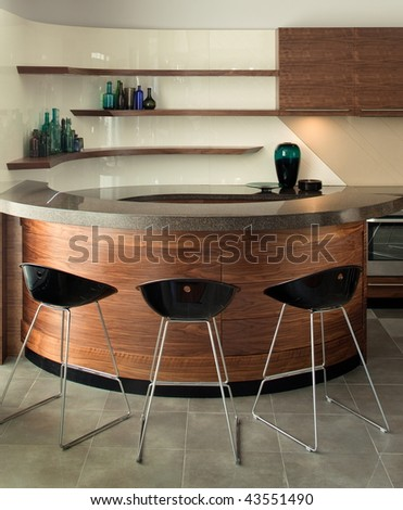 Beautiful and modern kitchen interior design. Hotel and home furnishing.