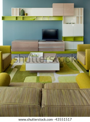 Beautiful and modern living room interior design. Hotel and home furnishing. - stock photo