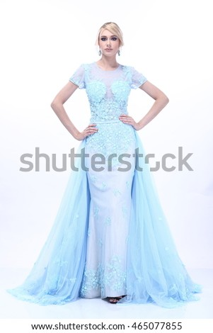 Beautiful and Nice Lady Blonde Hair in Snow Blue Evening Gown