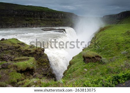 Beautiful and powerful Gullfoss waterfalls in Iceland - stock photo