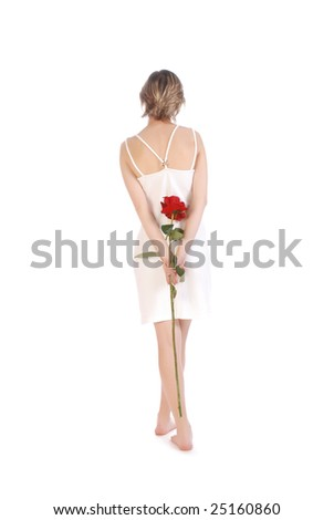 Beautiful and romantic woman isolated over white - stock photo