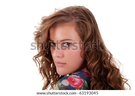 beautiful and sad young woman, looking back, isolated on white, studio shot - stock photo