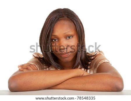 Beautiful and Serious Looking African American Lady - stock photo
