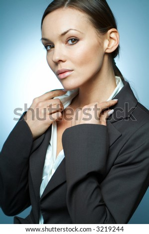 Beautiful and sexy brunette business woman isolated on clear background.