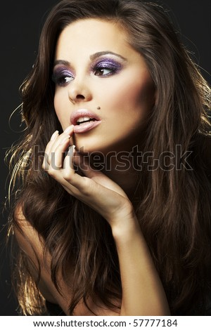 beautiful and sexy brunette girl - portrait - stock photo