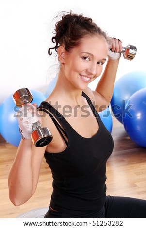 beautiful and sexy girl doing fitness - stock photo