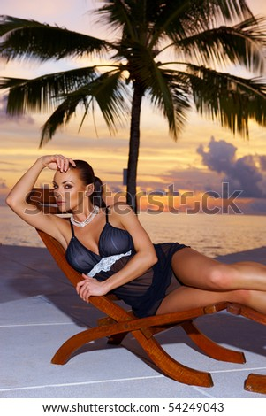 Beautiful and sexy woman in lingerie at Maldives - stock photo