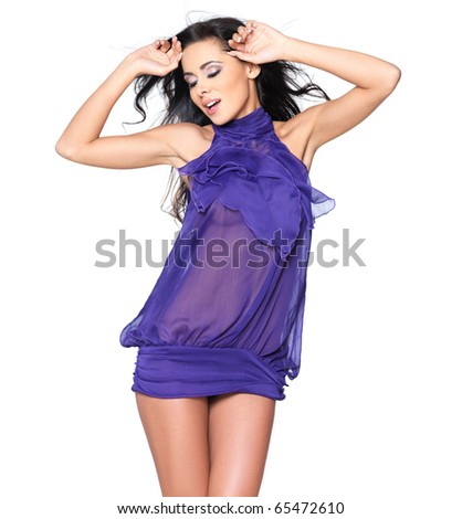 Beautiful and sexy woman wearing black fashion dress - stock photo
