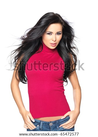 Beautiful and sexy woman wearing red shirt - stock photo