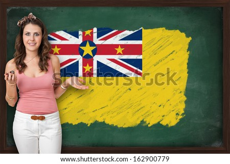 Beautiful And Smiling Woman Showing Flag Of Niue On