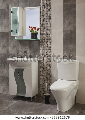 beautiful and stylish bathroom - stock photo