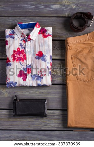 Beautiful and stylish men's clothing and accessories. - stock photo