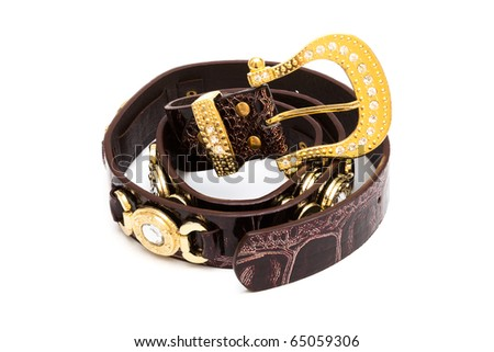 beautiful and the leather belt on a white background