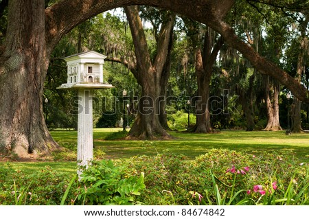 Beautiful and Unique Greek Revival Bird House at Houmas Plantation in Louisiana - stock photo