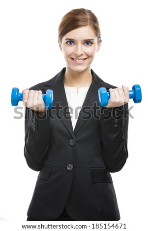 Beautiful and young business woman lifting weights and smiling, isolated over white background - stock photo