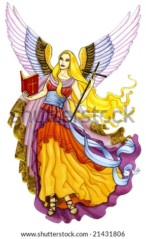 Beautiful angel holding a bible and a cross in her hands - stock photo