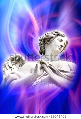 beautiful angel in blue and pink rays - stock photo