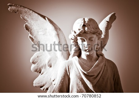 Beautiful angel in sepia - stock photo