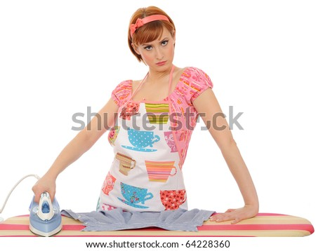 Beautiful angry house woman ironing. isolated on white background