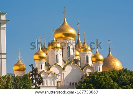 Beautiful Annunciation Cathedral in Moscow Kremlin, Russia - stock photo