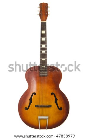 Beautiful antique acoustic guitar isolated on white background - stock photo