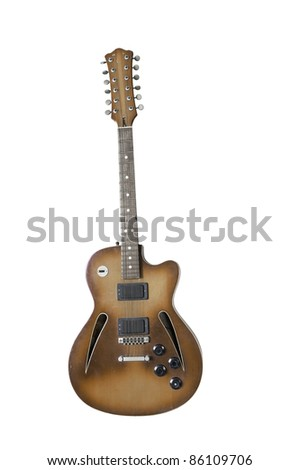 Beautiful antique electric guitar with clipping path isolated on white