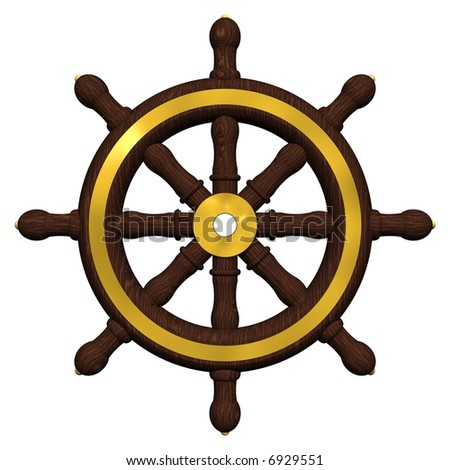 Beautiful antique ships wheel isolated on white - stock photo