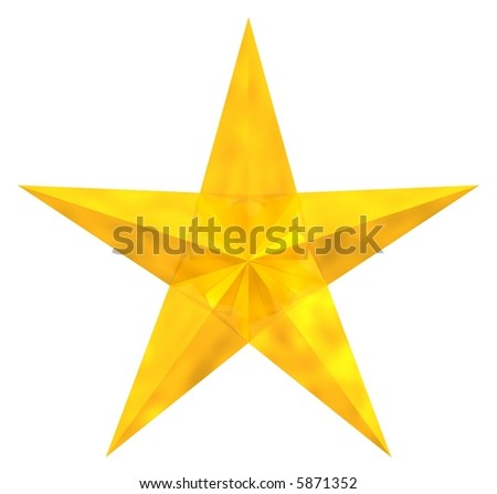 Beautiful antique star isolated on white - stock photo