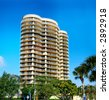 Beautiful apartment building in sunny Miami, Florida - stock photo