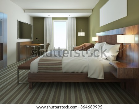 Beautiful apartment furnished, comfortable bedroom. Brown color in bedroom furniture, using of olive colors on modern interior. 3D render
