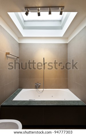 beautiful apartment, interior, bathroom clad in stone