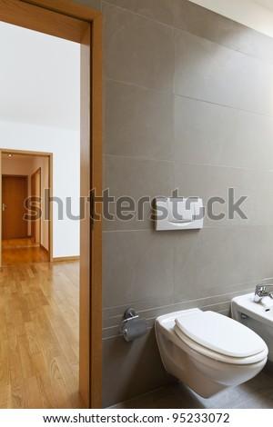 beautiful apartment, interior, bathroom , open door - stock photo