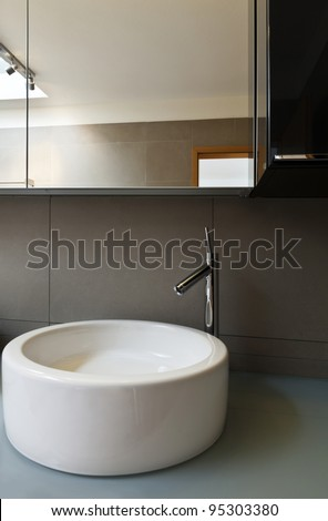 beautiful apartment, interior, bathroom, sink and mirror - stock photo