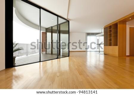 beautiful apartment, interior, big room with window - stock photo