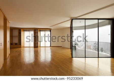 beautiful apartment, interior, empty room with windows