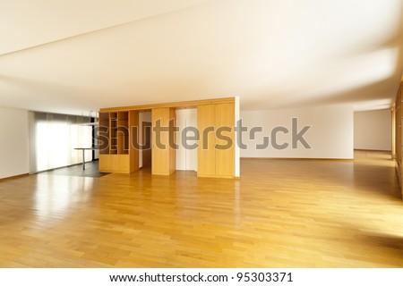beautiful apartment, interior hardwood floors, hall - stock photo