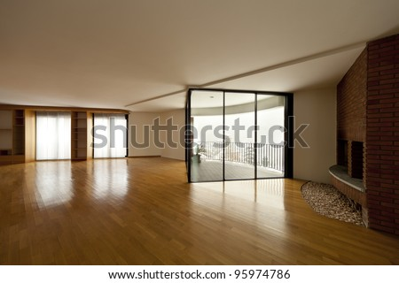 beautiful apartment, interior hardwood floors, large windows and fireplace - stock photo