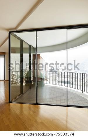 beautiful apartment, interior, large window - stock photo