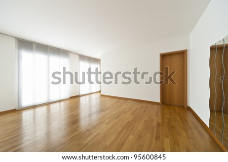 beautiful apartment, interior, mirror and window in empty room - stock photo