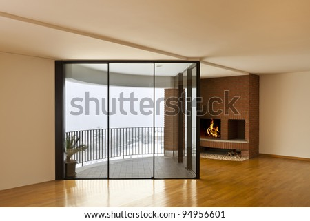 beautiful apartment, interior, room with fireplace and window - stock photo
