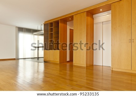 beautiful apartment, interior with hardwood floors, hall - stock photo