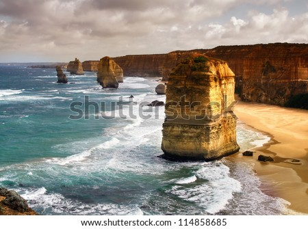 beautiful 12 apostles in Australia - stock photo