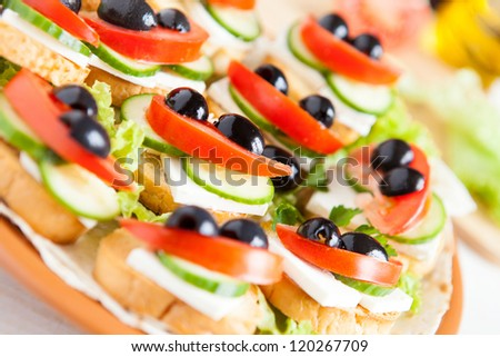 Beautiful appetizer with crackers and cheese, food