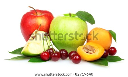 Beautiful apple, apricots and cherries isolated on white - stock photo