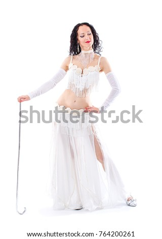 Beautiful Arabian bellydancer sexy woman in bellydance colorful costume Over white background