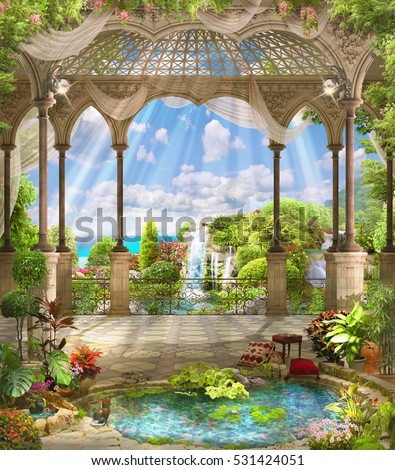 Beautiful Arabic Arch Flowers Stock Photo (Download Now) 531424051 ...