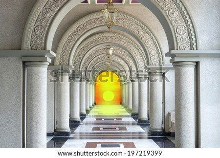 Beautiful Arched walkway with sunset - stock photo