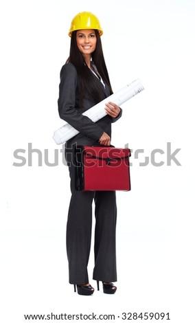 Beautiful architect woman isolated on white background. - stock photo